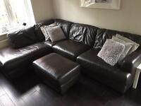 Large L shaped leather sofa