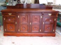Antique Victorian mahogany sideboard, dining dresser base, cupboard four doors, server c. 1890-1900