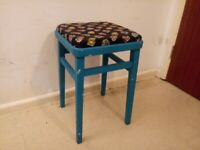 Upcycled Mid Century Kitchen Wooden Stool Padded Fabric Top C010021