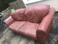 Leather Setee - used but old looking 3 seater