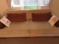 CREAM / BEIGE FABRIC LARGE 3 SEAT SOFA