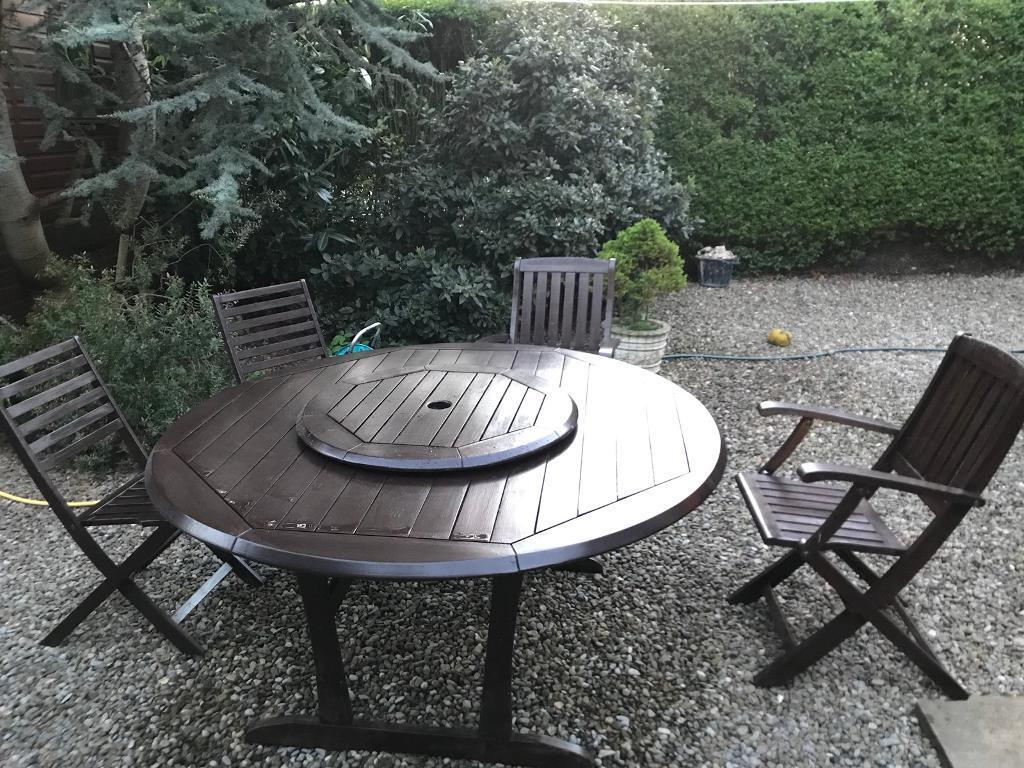 Solid wood patio garden table with lazy susan and chairs york