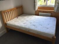 Double wooden bed frame and optional mattress £50