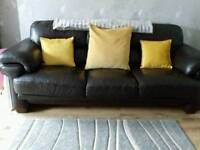 Dark brown leather large 3 seater sofa