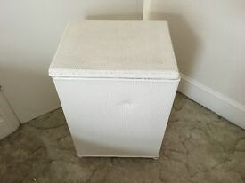 Vintage Lloyd Loom Style Laundry Basket Storage Box White