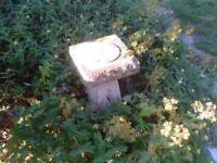 Garden planter stands, bird house and sun dial