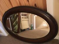 LOVELY VINTAGE BEVEL EDGE OVAL MIRROR WITH HANGING CHAIN