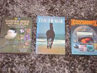 3 lovely hardback books. Garden birds & wildlife, Encyclopedia of the Horse, Earthscope. Lovely colo
