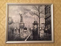 Original Framed Oil Painting - Black and White Paris Street Scene