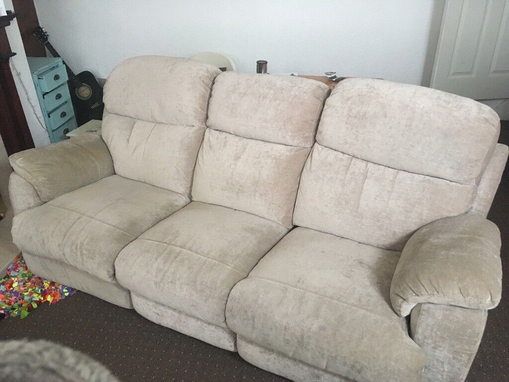 Lazy boy style reclining 3 seater sofa couch mink beige ...