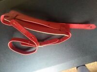 Red Leather Guitar Strap Padded Shoulder Pad Geniune Leather Made In Italy import
