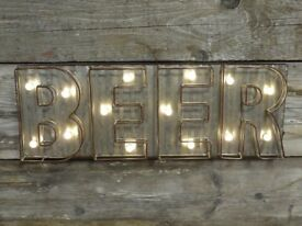Metal Beer Light Up Sign