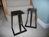 Pair of black metal speaker stands