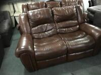 As new top grade leather 3 and 2 recliner sofas