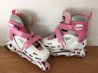 SFR Cyclone Inline Adjustable Skates UK 12J-2 White/Pink