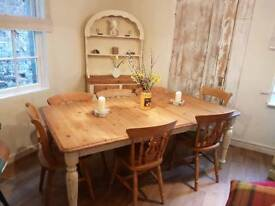 Pine farmhouse extending table