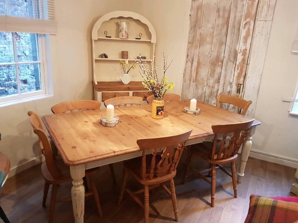 Pine farmhouse extending table