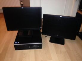HP PC 8200 Desktop i3, 4GB RAM, 250 GB Hard Drive with 2 x 19 Inch HP Wide Screen Monitors