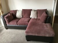 EXCELLENT Faux Suede Sofa w/ Chaise Lounge & matching Footstool