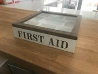 Wood & glass first aid box