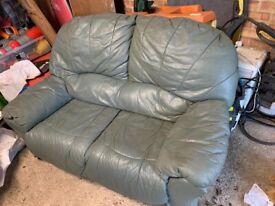 FREE 2 seater green leather sofa