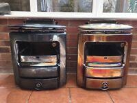 Two cast iron glazed fireplaces
