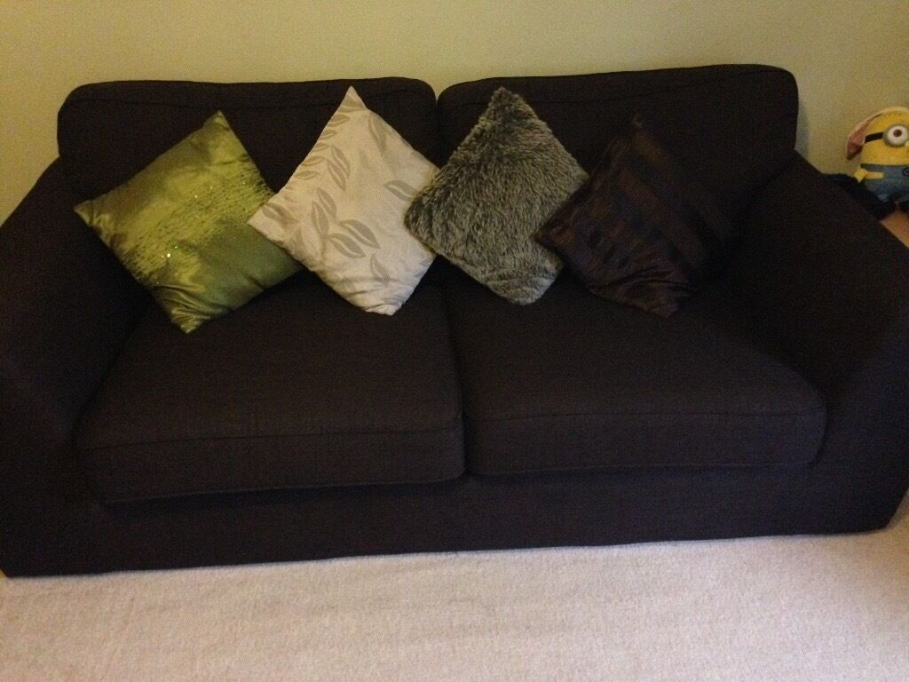 2 X 3 seater sofas - Dark Brown £250