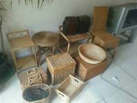 Joblot of wicker item chair box chest bowl table etc