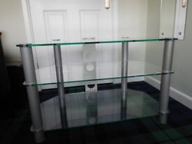 Glass TV stand suitable for TV, Satellite box and DVD player plus other items