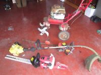 spares or repair petrol garden tools. 1 x rotovator, 2 x hedge trimmers, 1 x strimmer