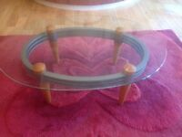 Set of 3 coffee tables in glass, metal and wood. Contemporary design from Leekes