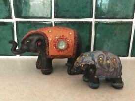 PAIR OF BEJEWELLED ORNAMENTAL ELEPHANTS