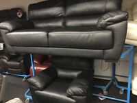 ScS NEW/Ex Display Black Leather 3 Seater Sofa + 1 Seater Chair Sofa