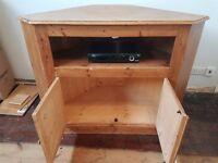 Corner Pine Wooden TV Cabinet