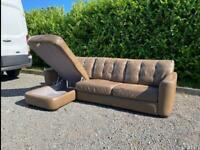 FREE DELIVERY 🚚 DFS REAL LEATHER BROWN L-SHAPED SOFA BED GOOD CONDITION