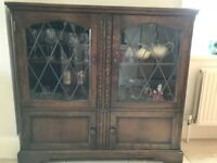 Solid wood display cabinet with leaded window panels
