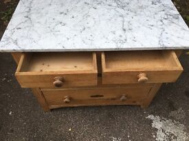 Antique marble top chest of drawers