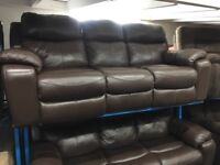 New/Ex Display Brown LazyBoy High Grade Cat35 Leather 3 + 3 Seater Recliner Sofas