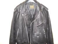 mens xl 46 leather biker jacket black as new