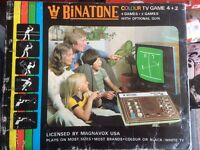 Vintage Binatone Colour TV game, with Gun and Adaptor, still has cellophane wrapping £40 ono