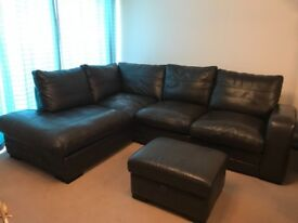 DFS Leather Corner Sofa bed + Leather Storage Footstool