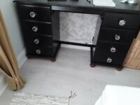 Solid Pine Desk with 4 Drawers and crystal handles painted black, shabby chic