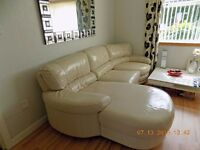 DFS Chaise Longue 3 Seater Sofa and Chair. Real Leather Excellent Condition