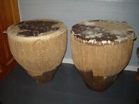 Pair of african cowhide drums
