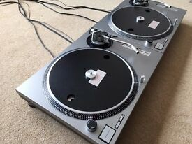 2 X Technics SL-1200 MK2 Turntables With Custom Silver Covers