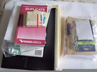 MIXED BUNDLE OF STATIONERY-ENVELOPES, PETTY CASH SLIPS, FILES, LABELS, PENCILS ETC