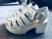 Chunky white sandals size 5 /5.5
