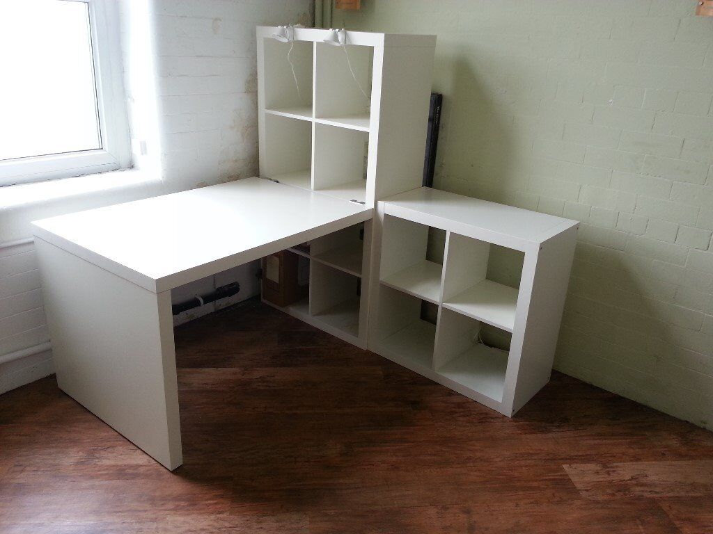 ikea kallax desk and shelving units including work lights in mossley manchester gumtree. Black Bedroom Furniture Sets. Home Design Ideas