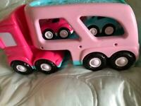 Early learning centre car transporter and cars all with sounds