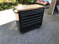 Snap On 40inch 7 drawer roll cab/tool chest/tool box in black with hard wood top